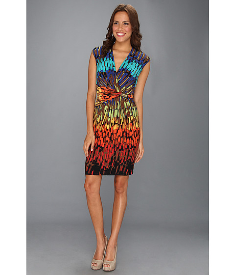 Rochii Ellen Tracy - Surplice Jersey Print W/Hardware Dress - Orange Multi