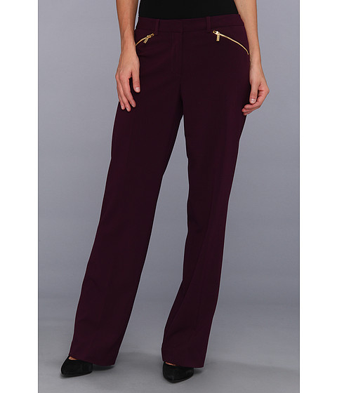Pantaloni Calvin Klein - Madison Lux Stretch Pant w/Zip - Aubergine