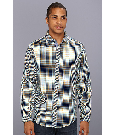 Camasi Original Penguin - Classic Fit L/S 60s Suiting Check Flannel Shirt - Blue Teal