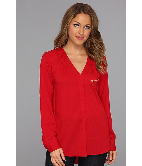 Bluze Calvin Klein - Polyester Crape Blouse w/ Zipper - Red