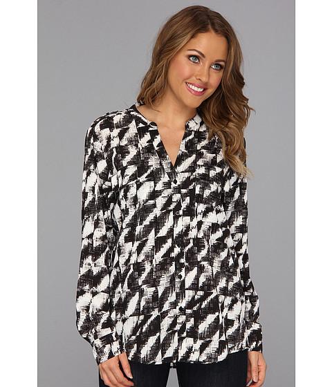 Bluze Calvin Klein - Print Crew Top w/ Convertible Sleeves - Eggshl/Black Etched Facade