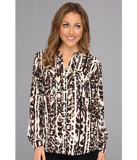 Bluze Calvin Klein - Print Crew Top w/ Convertible Sleeves - Eggshell/Black Animal Stripe