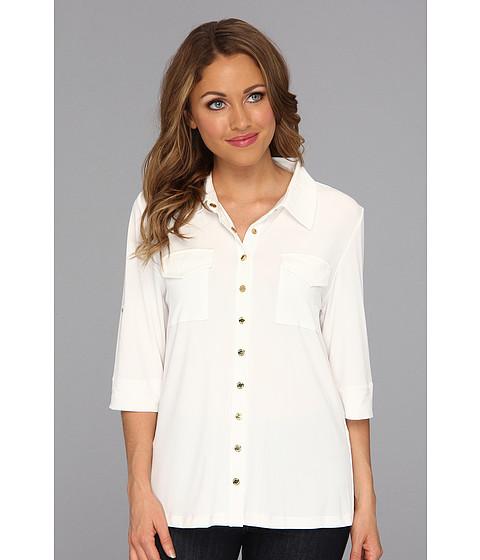 Bluze Calvin Klein - Solid Roll Matte Jersey Sleeve - Eggshell
