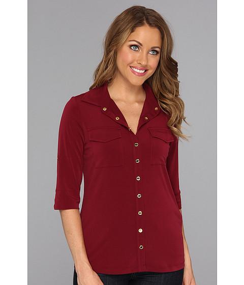 Bluze Calvin Klein - Solid Roll Matte Jersey Sleeve - Zinfandel