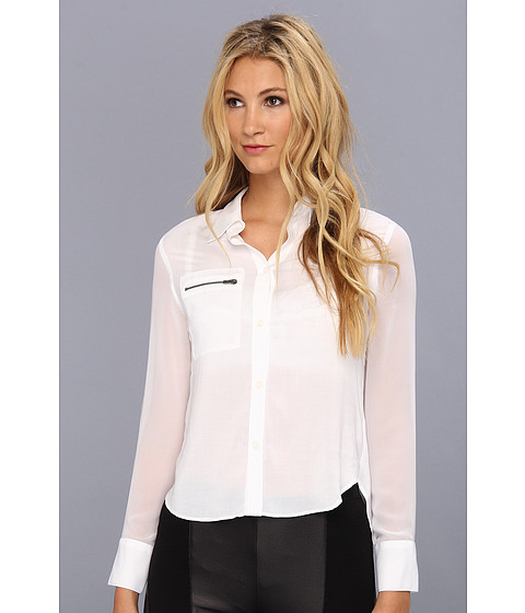 Bluze BCBGeneration - Contrast Pocket Button Down Top - White