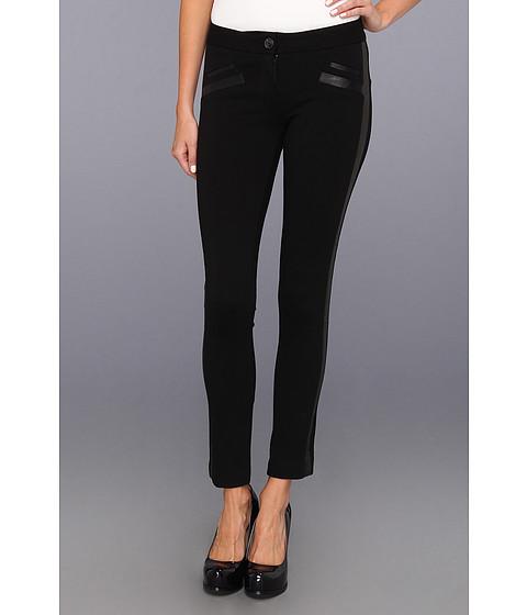 Blugi Paige - Lucia Ultra Skinny Ponte & Leather in Black - Black