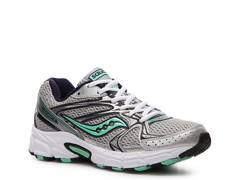 Adidasi Saucony - Grid Cohesion 6 Lightweight Running Shoe - Womens - Silver/Navy Blue/Mint Green