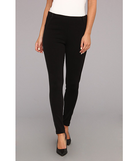 Pantaloni Calvin Klein - Ponte Legging w/ Faux Leather - Black