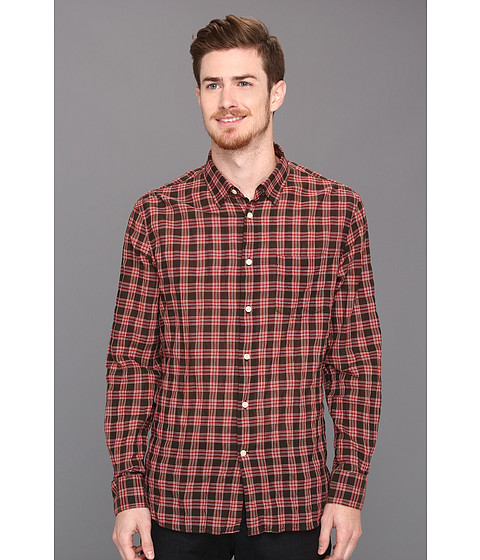 Camasi John Varvatos - Slim Fit Crinkle Plaid Shirt - Scarlet