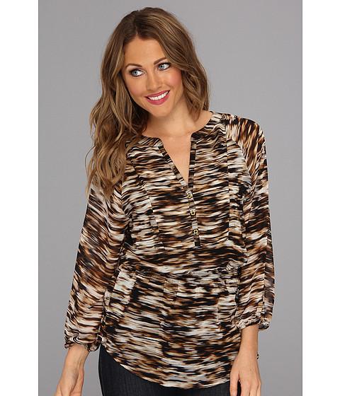 Bluze Calvin Klein - Print Peasant Poly Chiffon Top - Black Multi Ikat Strokes Bt