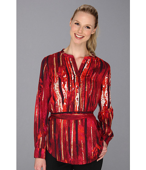 Bluze Calvin Klein - Print Poly Tunic w/ Belt - Black/Rhubarb