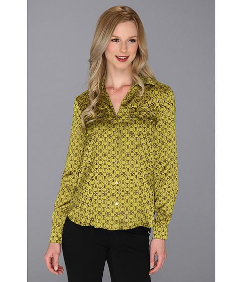 Bluze Jones New York - Roll Sleeve V Neck Blouse 10437831 - Chartreuse Multi
