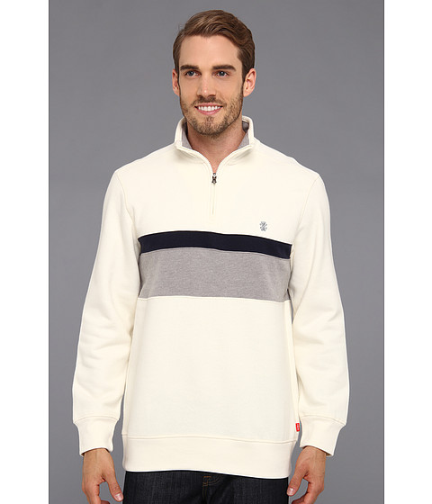 Bluze IZOD - Long Sleeve Half Zip Chest Stripe Pullover - Vanilla Ice