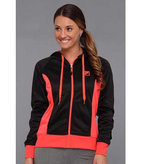 Bluze Fila - Plaited Fleece Full Zip Hoody - Black/Diva Pink