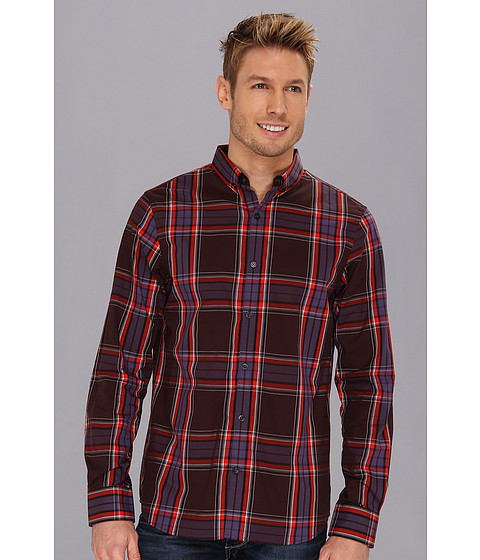 Camasi Perry Ellis - Slim Fit Large Heather Plaid Button Down Collar Shirt - Dark Brown