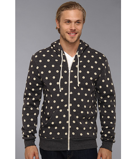 Bluze Alternative Apparel - Printed Rocky Zip Hoodie - Eco True Vintage Black/Ivory Polka Dot