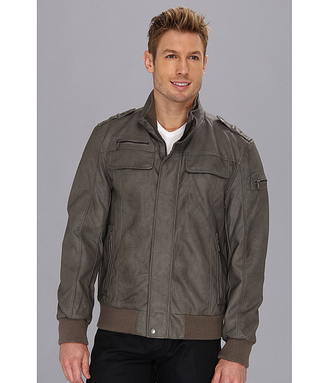 Bluze Calvin Klein - Faux Leather Bomber Jacket - Grey