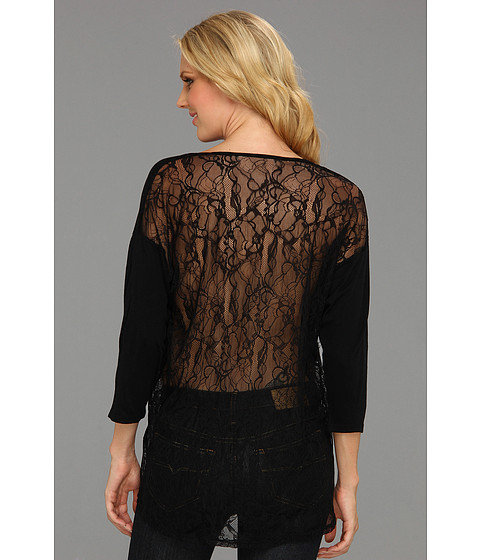 Bluze Michael Stars - 3/4 Sleeve Scoop Neck With Lace Back - Black