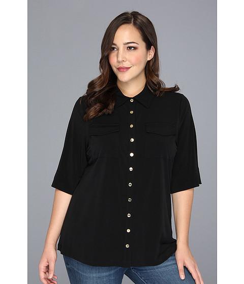 Bluze Calvin Klein - Plus Size Solid Roll Matte Jersey Sleeveless w/ Pockets - Black