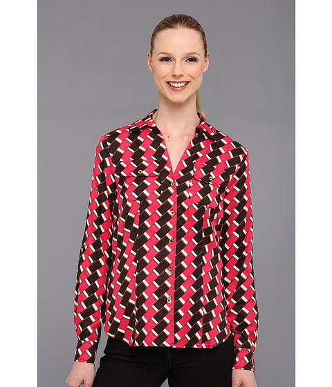 Bluze Jones New York - Roll Sleeve V Neck Blouse - Magenta Multi