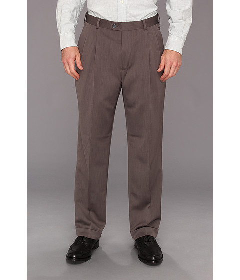 Pantaloni Perry Ellis - Classic Fit Double Pleat Micro-Melange Pant - Grey Heather