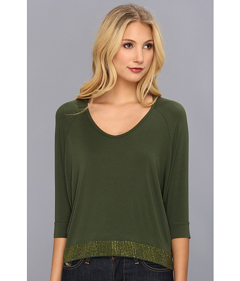 Bluze Gabriella Rocha - Scoop Neck Hi-Lo Studded Top - Olive