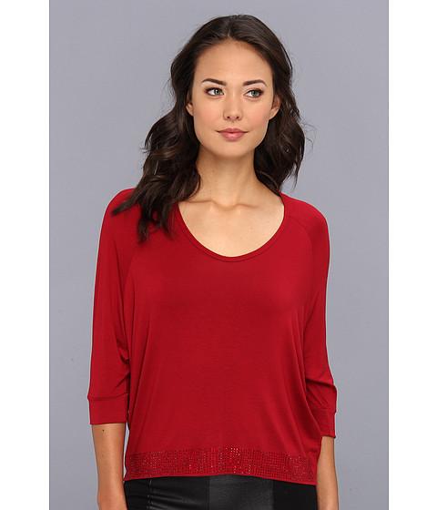 Bluze Gabriella Rocha - Scoop Neck Hi-Lo Studded Top - Red