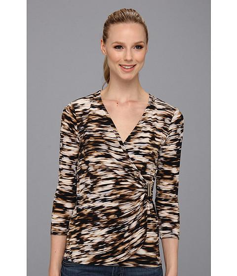 Bluze Calvin Klein - Print Op Drape Matte Jersey Top - Black Multi/Ikat Strokes