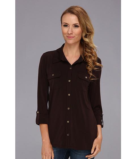 Camasi Jones New York - 3/4 Roll Up Sleeve Collar Shirt - Chocolate