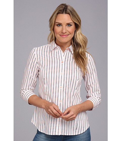 Camasi Jones New York - 3/4 Sleeve Button Front Shirt - Coral Blush