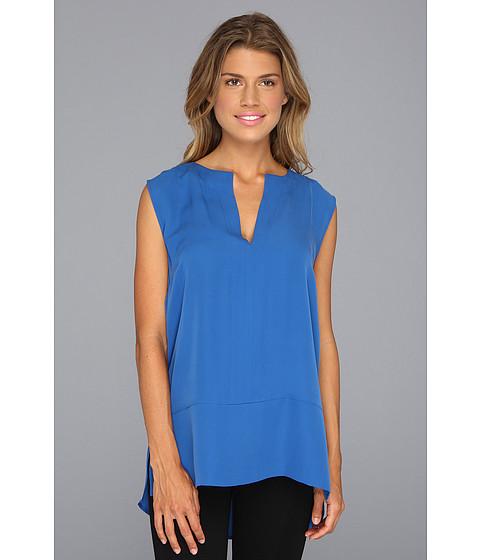 Bluze Halston Heritage - Sleeveless Notched Neck Top w/ Shirttail Hem - Sapphire