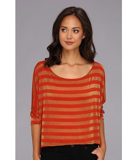 Bluze Gabriella Rocha - Sparkle Striped Hi-Lo Top - Rust