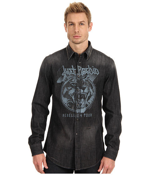 Camasi Just Cavalli - Shirt with Studded Collar and Graphic - Denim