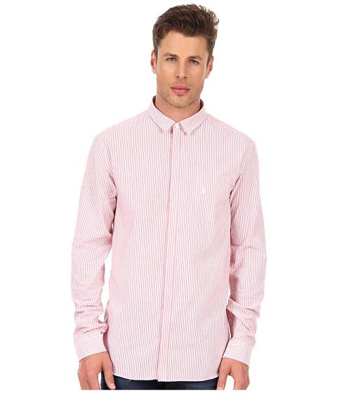 Camasi Pierre Balmain - Long Sleeve Slim Fit Striped Shirt - Red