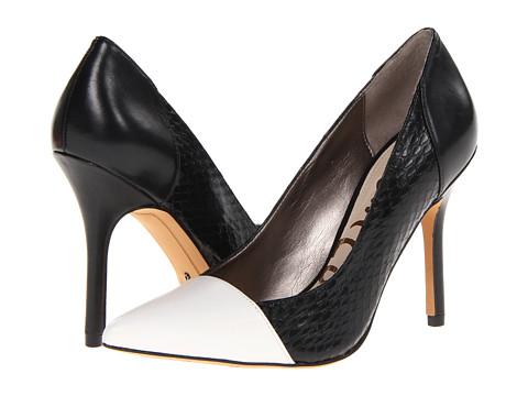 Pantofi Sam Edelman - Desiree - Snow White/Black Dress Calf Leather/Oversized Snake/Napa Luva