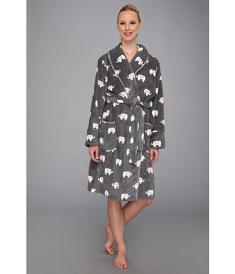 Lenjerie P.J. Salvage - Printed Polyester Microfiber Robe - Grey Elephants