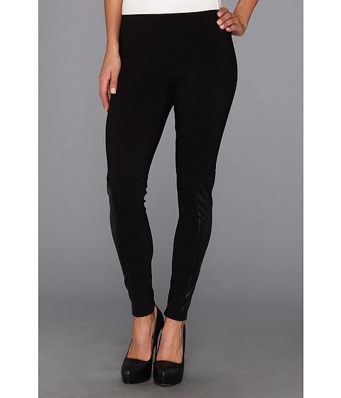 Pantaloni DKNY - Legging w/ Faux Leather Inset - Black