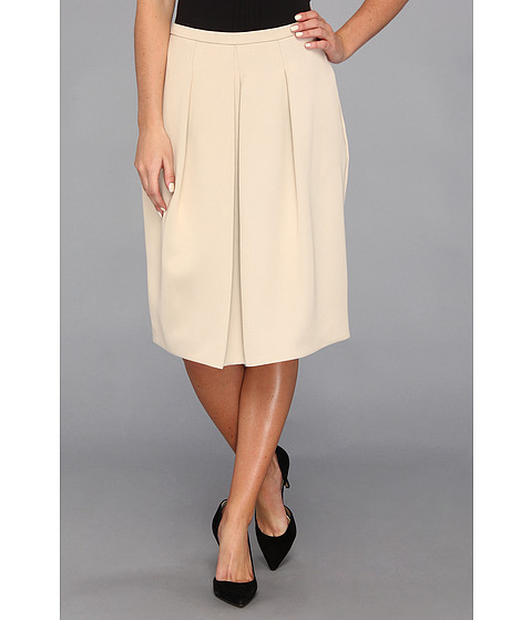 Fuste Halston Heritage - Full Skirt w/ Front Pleat Detail - Champagne
