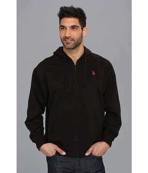 Bluze U.S. Polo Assn - Full Zip Long Sleeve Hoodie with Small Pony - Black