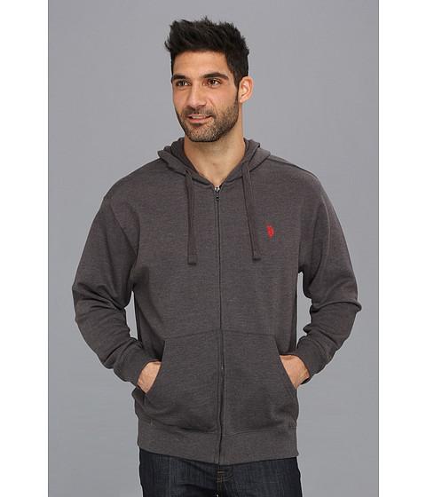 Bluze U.S. Polo Assn - Full Zip Long Sleeve Hoodie with Small Pony - Dark Grey
