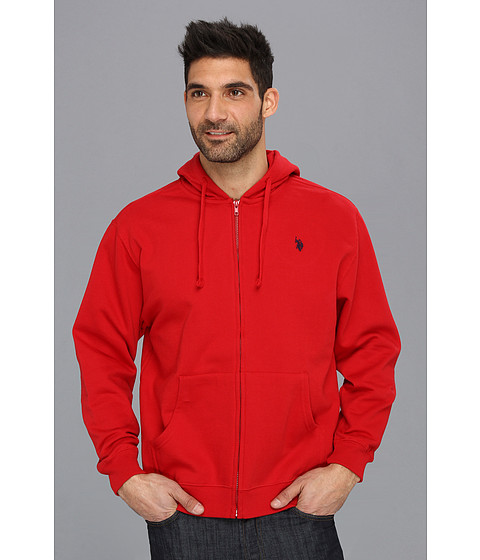 Bluze U.S. Polo Assn - Full Zip Long Sleeve Hoodie with Small Pony - Engine Red