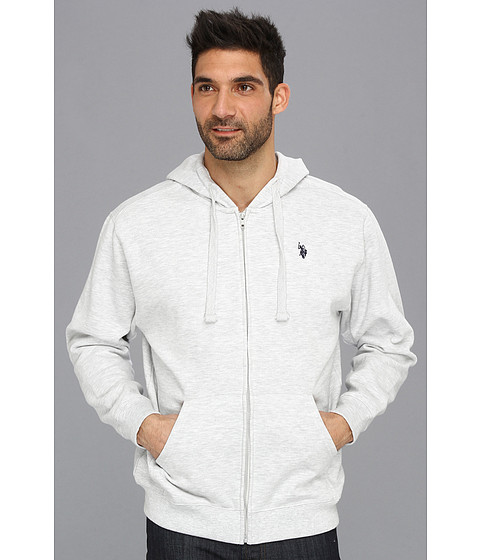 Bluze U.S. Polo Assn - Full Zip Long Sleeve Hoodie with Small Pony - Light Grey