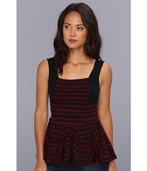 Bluze Free People - Jacquard Knit Stripe Sedwick Peplum - Wine