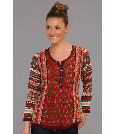 Bluze Lucky Brand - Annabeth Mixed Print Top - Red Multi