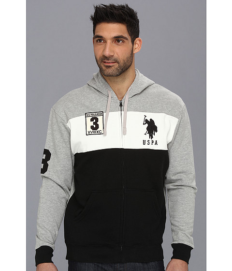 Bluze U.S. Polo Assn - Color Block Long Sleeve Full Zip Hoodie - Black