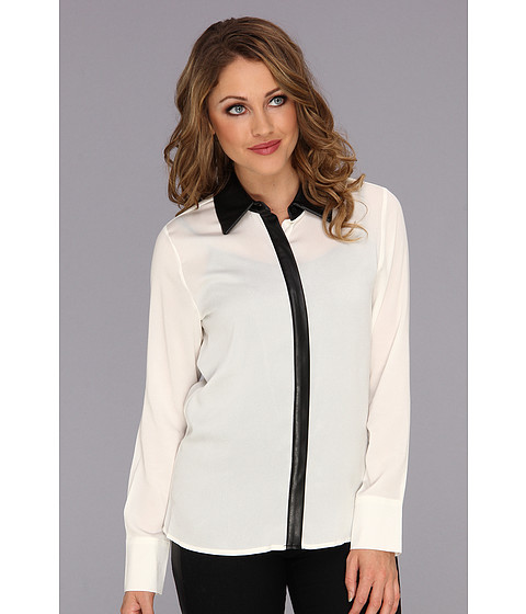 Bluze Calvin Klein - Polyester Crepe Top w/ Faux Leather Collar - Birch