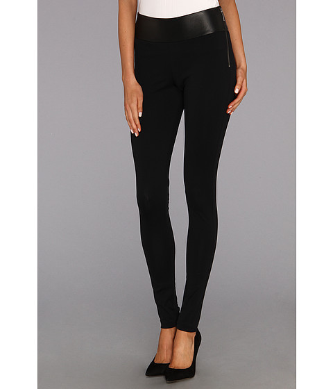 Pantaloni Nicole Miller - Nina Leather Combo Pant - Black