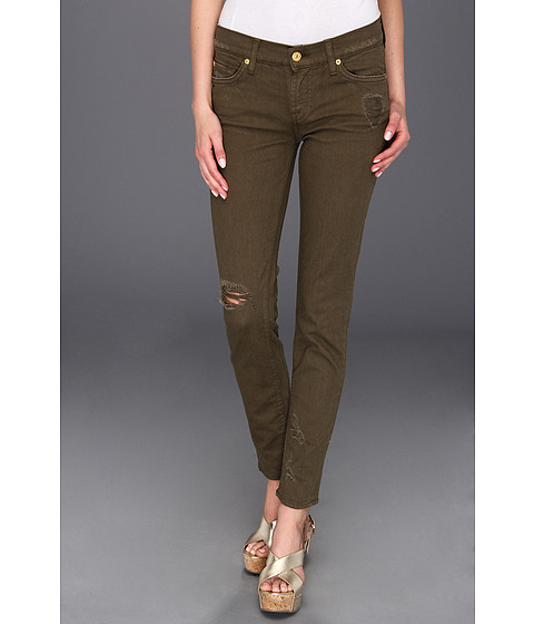 Blugi 7 For All Mankind - The Slim Cigarette Destroyed - Army Green Destroyed