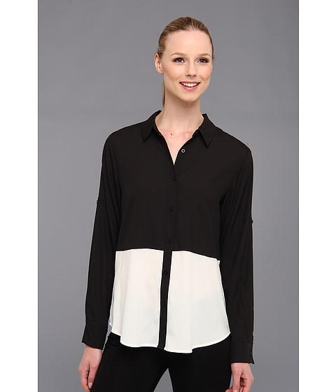 Bluze Calvin Klein - Color Block Polyester Top w/ Buttons - Black