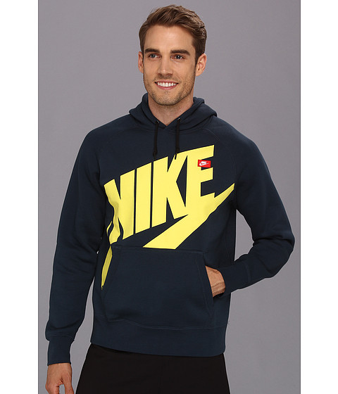 Bluze Nike - AW77 Pullover Hoodie - Exploded Logo - Armory Navy/Sonic Yellow